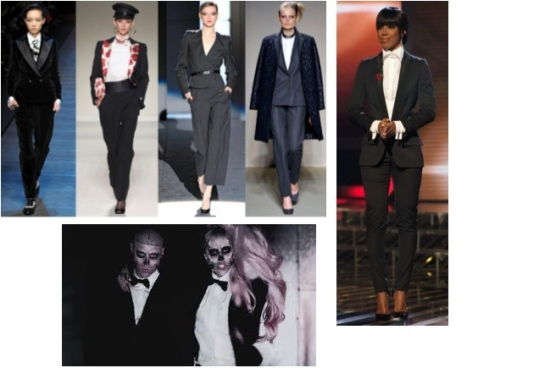 trouser suits can be seen on the catwalk, on celebrities and in Lady Gaga's music video